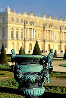 Versailles, France, Paris, Ile de France, Yvelines, Europe, Ornate flower pot in the gardens at Chateau de Versailles.