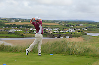 Cian Geraghty (Laytown & Bettystown) on the 9th tee during Matchplay Round 1 of the South of Ireland Amateur Open Championship at LaHinch Golf Club on Friday 22nd July 2016.<br /> Picture:  Golffile | Thos Caffrey<br /> <br /> All photos usage must carry mandatory copyright credit   (© Golffile | Thos Caffrey)