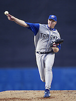 Roy Halladay of the Toronto Blue Jays pitches during a 2002 MLB season game against the Los Angeles Dodgers at Dodger Stadium, in Los Angeles, California. (Larry Goren/Four Seam Images)