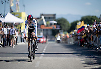 Egan Bernal (COL/Ineos) rolling over the finish line<br /> <br /> Stage 13 (ITT): Pau to Pau (27km)<br /> 106th Tour de France 2019 (2.UWT)<br /> <br /> ©kramon