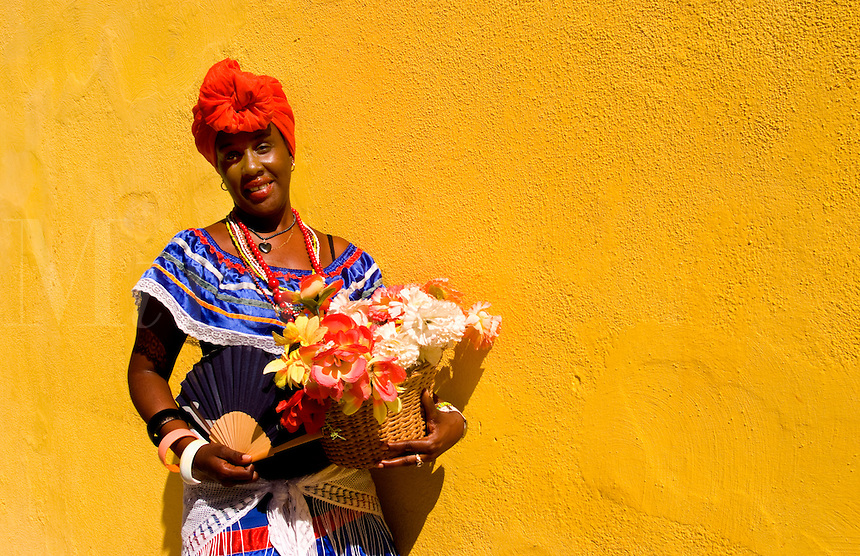 Old Havana Habana Cuba with lady character with flowers in costume and portrait