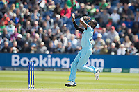 Jofra Archer (England) in action during England vs Bangladesh, ICC World Cup Cricket at Sophia Gardens Cardiff on 8th June 2019