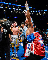 "NEW YORK, NY - MARCH 04: Undefeated WBA and WBC Welterweight Champion Keith ""One Time"" Thurman celebrating the split decision win over Danny ""Swift"" Garcia at Barclays Center on  March 4, 2017 in the borough of Brooklyn, New York City.. (Photo by Douglas DeFelice/Eclipse Sportswire/Getty Images)"