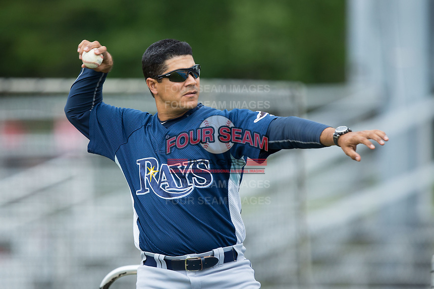 Princeton Rays hitting coach Wuarnner Rincones (44) throws batting practice prior to the game against the Danville Braves at American Legion Post 325 Field on June 25, 2017 in Danville, Virginia.  The Braves walked-off the Rays 7-6 in 11 innings.  (Brian Westerholt/Four Seam Images)