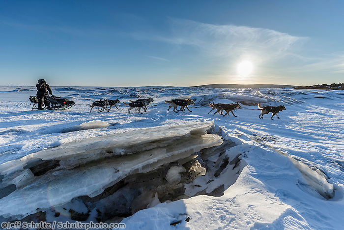 Dallas Seavey makes his way across the sea ice and pressure ridges of Norton Bay as he makes his way on the trail to the Koyuk checkpoint on Sunday March 13th during the 2016 Iditarod.  Alaska    <br /> <br /> Photo by Jeff Schultz (C) 2016  ALL RIGHTS RESERVED