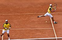 BOGOTA - COLOMBIA – 16 – 09 -2019: Sebastian Cabal (Der.) y Alejandro Falla (Izq.) de Colombia, durante partido de dobles de la Copa Davis entre los equipos de Colombia y Croacia, partidos por el ascenso al Grupo Mundial de Copa Davis por BNP Paribas, en la Plaza de Toros La Santamaria en la ciudad de Bogota. / Sebastian Cabal (R) and Alejandro Falla (L) from Colombia, during a Davis Cup doubles tennis match between the teams of Colombia and Croatia, match promoted to the World Group Davis Cup by BNP Paribas, at the La Santamaria Ring Bull in Bogota city. / Photo: VizzorImage / Luis Ramirez / Staff.