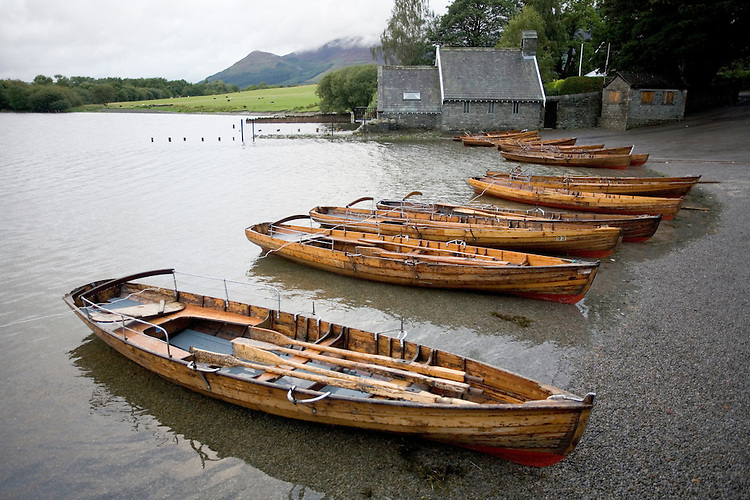 Row boats at Lake Derwentwater, Keswick, Lake District, England.