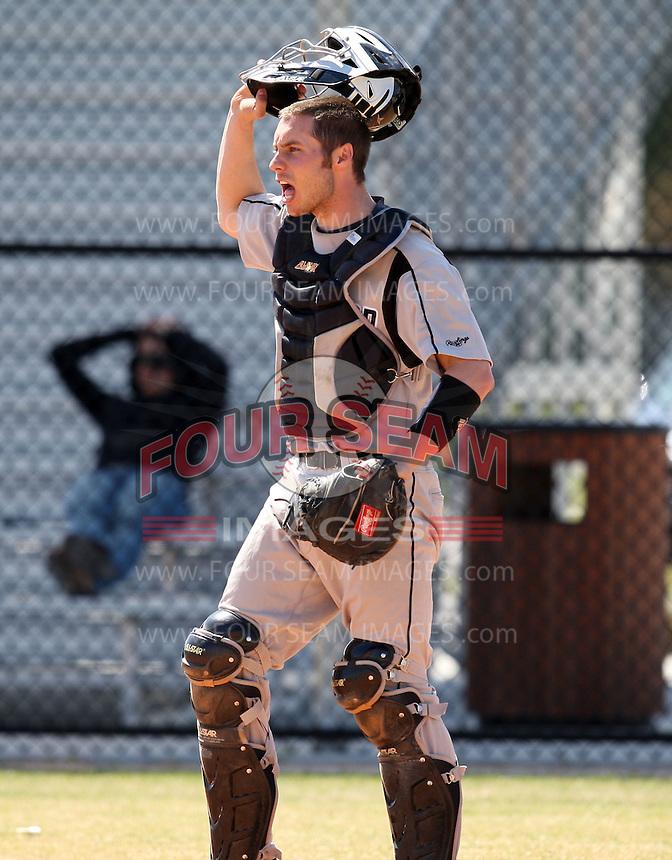 March 15, 2010:  Catcher Tyler Jones (16) of the Long Island University Blackbirds vs. UMBC at Lake Myrtle Park in Auburndale, FL.  Photo By Mike Janes/Four Seam Images