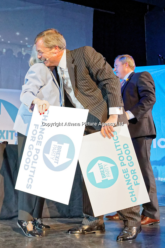 Pictured: Anne Widdecombe is emraced by Nigel Farage at the end of the rally. Tuesday 30 April 2019<br /> Re: Nigel Farage and Anne Widdecombe at the Brexit Party rally at The Neon in Clarence Place in Newport, south Wales, UK.