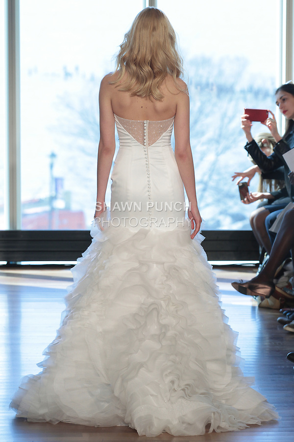 "Model Milou walks runway in a ""Ziggy"" bridal gown from the Rivini Spring Summer 2017 bridal collection by Rita Vinieris at The Standard Highline Room, during New York Bridal Fashion Week on April 15, 2016."