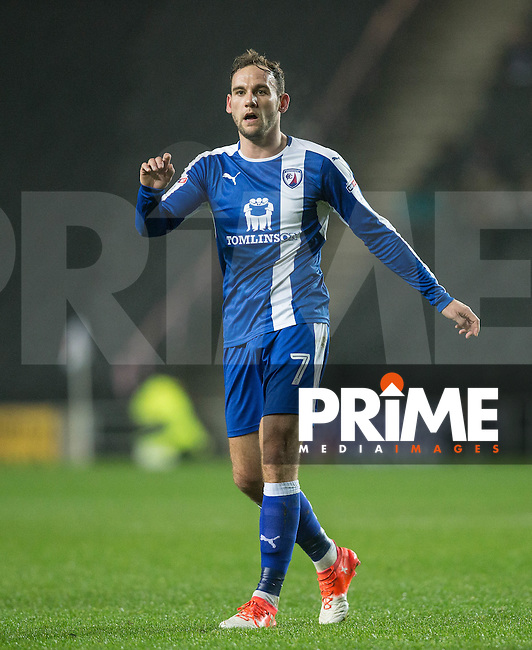 Goalscorer Dan Gardner of Chesterfield during the Sky Bet League 1 match between MK Dons and Chesterfield at stadium:mk, Milton Keynes, England on 22 November 2016. Photo by Andy Rowland.