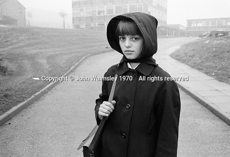 School girl in the mist, Whitworth Comprehensive School, Whitworth, Lancashire.  1970.