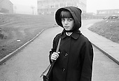 School girl in the mist, Whitworth Comprehensive School, Whitworth, Lancashire.  1970.