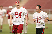 21 April 2007: Austin Lee and Chris Berg during the alumni's 38-33 victory over the coaching staff during a flag football exhibition at Stanford Stadium in Stanford, CA.