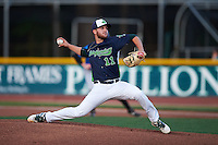 Vermont Lake Monsters pitcher Bubba Derby (11) delivers a pitch during a game against the Hudson Valley Renegades on September 3, 2015 at Centennial Field in Burlington, Vermont.  Vermont defeated Hudson Valley 4-1.  (Mike Janes/Four Seam Images)