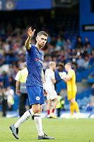 Jorginho of Chelsea acknowledges the support during the Premier League match between Chelsea and Sheff United at Stamford Bridge, London, England on 31 August 2019. Photo by Carlton Myrie / PRiME Media Images.