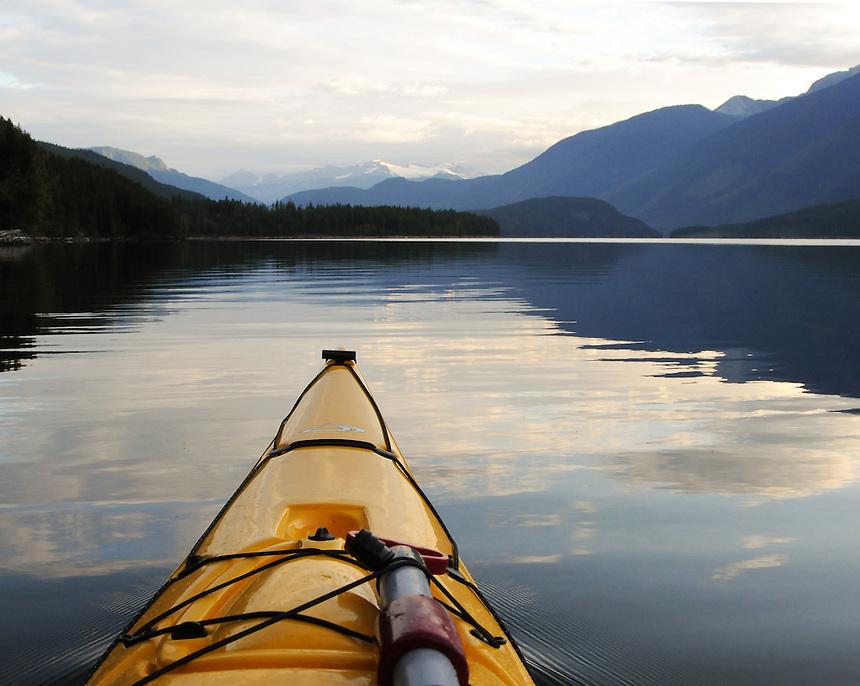 Photo taken from in my kayak at dawn on Duncan Lake. West Kootenay, BC