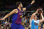 League ACB-ENDESA 2018/2019. Game: 14.<br /> FC Barcelona Lassa vs Monbus Obradoiro: 79-73.<br /> Ante Tomic vs Kyle Singler.