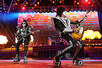 ALBUQUERQUE NM - AUGUST 7:  Gene Simmons and Tommy Thayer of Kiss perform at the Hard Rock Casino Albuquerque on August 7, 2012 in Albuquerque, New Mexico. /NortePhoto.com<br />