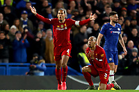3rd March 2020; Stamford Bridge, London, England; English FA Cup Football, Chelsea versus Liverpool; Fabinho of Liverpool reacts as the referee shows him a yellow card