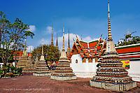 Chedis at Wat Pho, Bangkok, Thailand.