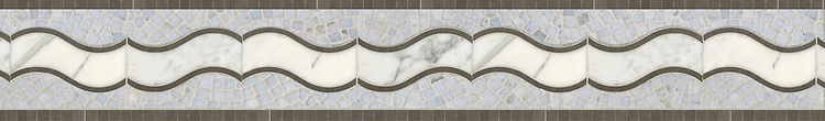 """7 1/2"""" Danube border, a handmade mosaic shown in Montevideo, Calacatta Tia, and tumbled Celeste, is part of the Silk Road® collection by New Ravenna."""
