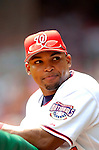 28 August 2005: Marlon Byrd, outfielder for the Washington Nationals, in the dugout during a game against the St. Louis Cardinals. The Cardinals defeated the Nationals 6-0 at RFK Stadium in Washington, DC. Mandatory Photo Credit: Ed Wolfstein.
