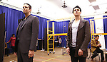 """Nick Cordero and Bobby Conte Thornton during the open press rehearsal for """"A Bronx Tale - The New Musical""""  at the New 42nd Street Studios on October 21, 2016 in New York City."""
