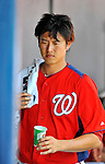 10 March 2012: Washington Nationals pitcher Chien-Ming Wang. hydrates in the dugout during a Spring Training game against the New York Mets at Space Coast Stadium in Viera, Florida. The Nationals defeated the Mets 8-2 in Grapefruit League play. Mandatory Credit: Ed Wolfstein Photo