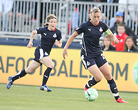 Sonia Bompastor (8) races behind Abby Wambach (20) of the Washington Freedom during a WPS match against the Chicago Red Stars at Maryland Soccerplex on April 11 2009, in Boyd's, Maryland.  The game ended in a 1-1 tie.