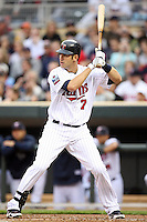 April 2, 2010: Joe Mauer of the Minnesota Twins in the first professional baseball game played at the Twins new home, Target Field. Photo by: Chris Proctor/Four Seam Images