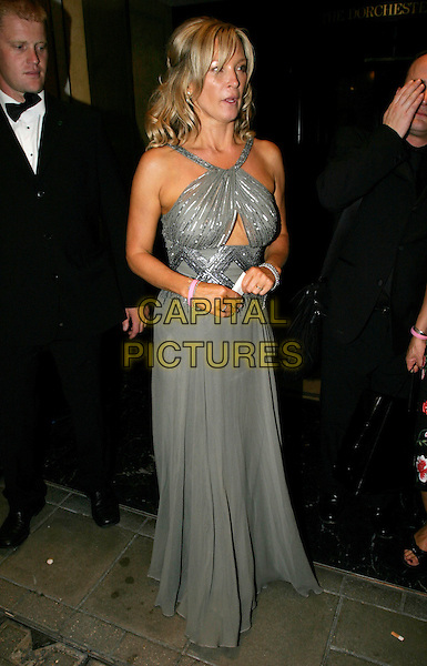GILLIAN TAYLFORTH.TV Quick & TV Choice Awards at the Dorchester Hotel, Park Lane, London..September 5th, 2005.full length grey gray silver dress cut out cut away pink rubber bracelet.www.capitalpictures.com.sales@capitalpictures.com.© Capital Pictures.