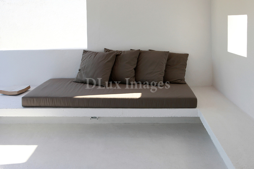 white built-in sofa