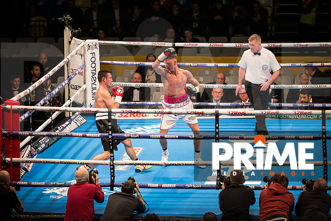 General view of Archie Sharp (10-0) in action vs Rafael Castillo (14-37-3) during the Boys are back in town - Frank Warren Boxing event at the Copper Box Arena, London, England on 9 December 2017. Photo by Andy Rowland.