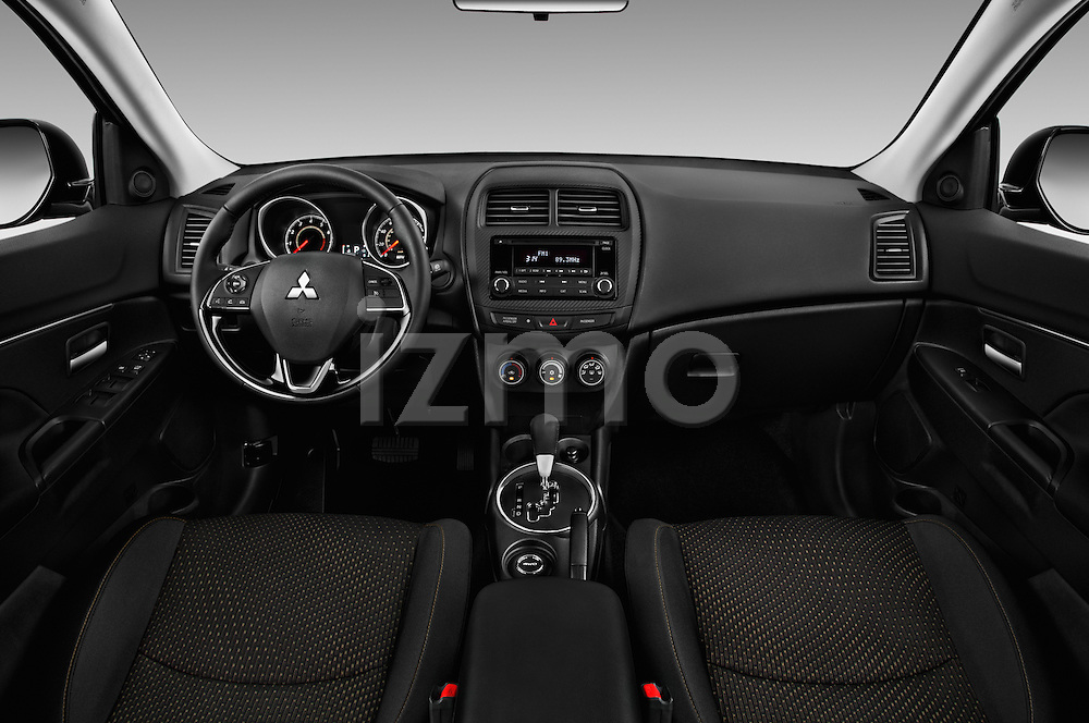 Stock photo of straight dashboard view of 2016 Mitsubishi Outlander-Sport 2.4-ES-AWC-CVT 5 Door SUV Dashboard