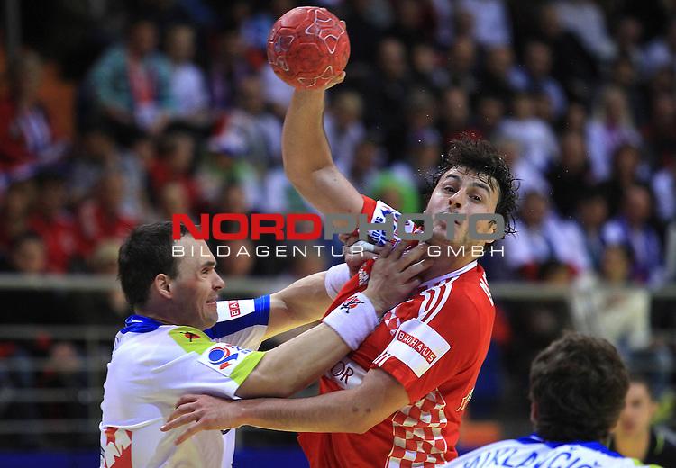 18.01.2012., Millennium Hall, Vrsac, Srbija - 10th men's european handball championship, group D, Slovenia - Croatia. Domagoj Duvnjak. <br /> <br /> Foto &copy;  nph / PIXSELL / Antonio Bronic