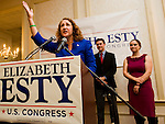 WATERBURY, CT- 4 November 2014-110414EC11--    Elizabeth Esty addresses supporters at CoCo Key in Waterbury Tuesday night. The democrat won the fifth congressional district. Erin Covey Republican-American