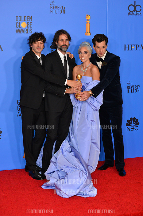 LOS ANGELES, CA. January 06, 2019: Mark Ronson, Lady Gaga, Andrew Wyatt & Anthony Rossomando at the 2019 Golden Globe Awards at the Beverly Hilton Hotel.<br /> Picture: Paul Smith/Featureflash