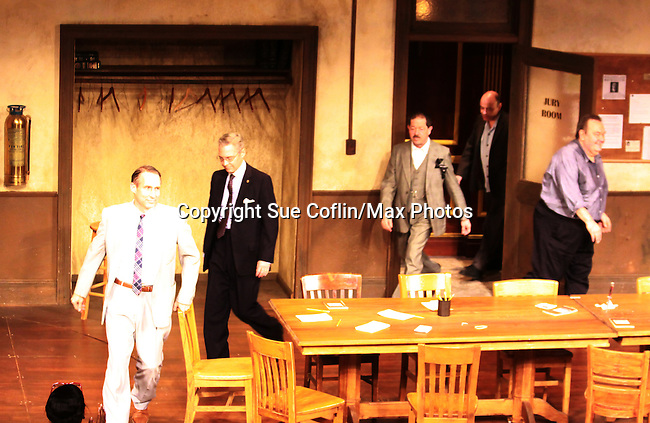 ATWT Gregg Edelman (L) David Schramm (R) (Wings) at the curtain call of Twelve Angry Men on opening night, March 16, 2012 at the George Street Playhouse, New Brunswick, NJ.  (Photo by Sue Coflin/Max Photos)