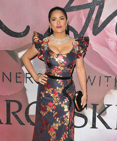 Salma Hayek at the Fashion Awards 2016, Royal Albert Hall, Kensington Gore, London, England, UK, on Monday 05 December 2016. <br /> CAP/CAN<br /> ©CAN/Capital Pictures /MediaPunch ***NORTH AND SOUTH AMERICAS ONLY***