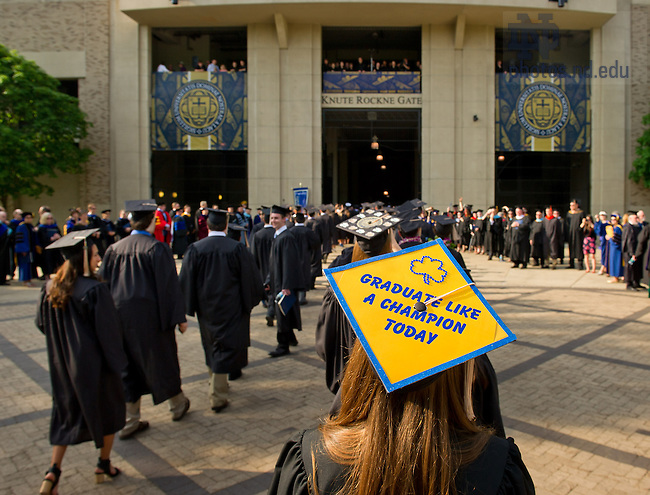 May 19, 2013; Students process into Notre Dame Stadium for the 2013 Commencement...Photo by Matt Cashore/University of Notre Dame