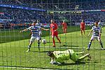 12.05.2019, Schauinsland-Reisen-Arena, Duisburg, GER, DFL, 2. BL, MSV Duisburg vs 1. FC Heidenheim, DFL regulations prohibit any use of photographs as image sequences and/or quasi-video<br /> <br /> im Bild Moritz Stoppelkamp (#33, MSV Duisburg) macht das Tor zum 1:1<br /> <br /> Foto &copy; nordphoto/Mauelshagen