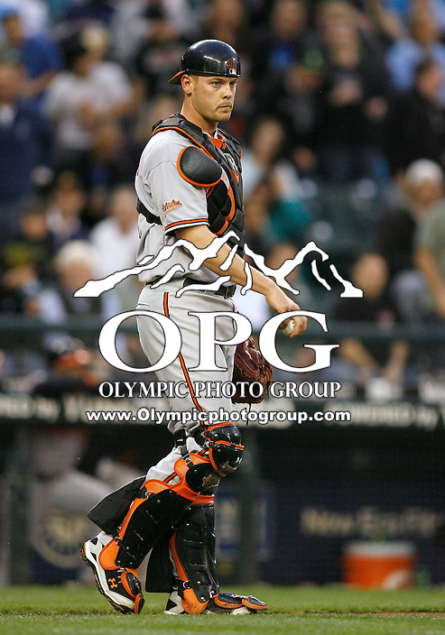 19 April 2010: Baltimore Orioles catcher #32 Matt Wieters walks out to the mound against the Seattle Mariners.  Seattle won 8-2 over Baltimore at Safeco Field in Seattle, Washington.