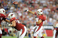Sept. 27, 2009; Glendale, AZ, USA; Arizona Cardinals quarterback Kurt Warner throws a pass against the Indianapolis Colts at University of Phoenix Stadium. Mandatory Credit: Mark J. Rebilas-