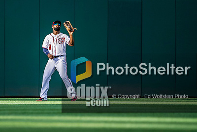 8 July 2017: Washington Nationals outfielder Brian Goodwin in action against the Atlanta Braves at Nationals Park in Washington, DC. The Braves shut out the Nationals 13-0 to take the third game of their 4-game series. Mandatory Credit: Ed Wolfstein Photo *** RAW (NEF) Image File Available ***