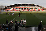 Fleetwood Town 1 Wrexham 1, 10/04/2012. Highbury Stadium, Football Conference Premier. A pitchside television discussion taking place as the players warm up before Fleetwood Town hosted Wrexham in a Blue Square Conference Premier match at Highbury Stadium with the Parkside Stand in the background. The match, between the top two teams in the division ended in a 1-1 draw watched by a near-capacity crowd of 4996. A victory for the hosts would have seen the club promoted to the Football League for the first time. Photo by Colin McPherson.
