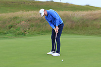 Matthew McLean (Malone) on the 16th green during Round 2 of the North of Ireland Amateur Open Championship 2019 at Portstewart Golf Club, Portstewart, Co. Antrim on Tuesday 9th July 2019.<br /> Picture:  Thos Caffrey / Golffile<br /> <br /> All photos usage must carry mandatory copyright credit (© Golffile | Thos Caffrey)