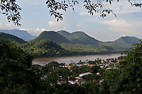 Luang Prabang town stretch along Mekong river, surrounding by mountains and forest. Laos-2010
