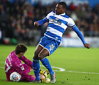 11th February 2020; Liberty Stadium, Swansea, Glamorgan, Wales; English Football League Championship, Swansea City versus Queens Park Rangers; Freddie Woodman of Swansea City comes out to stop Bright Osayi-Samuel of Queens Park Rangers