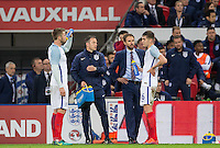 England Caretaker Manager (Head Coach) Gareth Southgate talks to John Stones (Man City) of England & Eric Dier (left) (Tottenham Hotspur) of England during a break in play during the International Friendly match between England and Spain at Wembley Stadium, London, England on 15 November 2016. Photo by Andy Rowland.